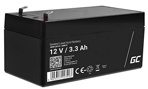 Green Cell® AGM 12V 3,3Ah Akku VRLA Blei-Batterie Bleiakku Ersatzakku Gelakku Akkubatterie Zyklenfest Unbemannt Spielzeug | Elektro Spielzeug| Alarm | Notstrom | Kinderfahrzeuge| Kinder-Quad