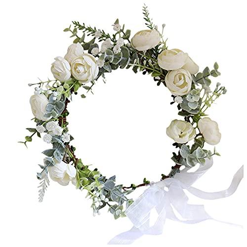 blumenkranz haare,haarreifen blumen,haare hochzeit braut,Kamelie Blumen Kranz Krone Festival Stirnband Frauen Haarschmuck Kopfschmuck Mädchen Blumengirlande Hochzeit...