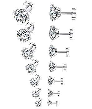 Tornito 7 Pairs 20G Stainless Steel Stud Earrings Round Cubic Zirconia Barbell Earring Set For Men Women 2MM-8MM Silver Tone