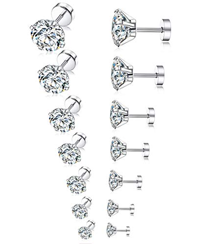 Tornito 7 Pairs 20G Stainless Steel…