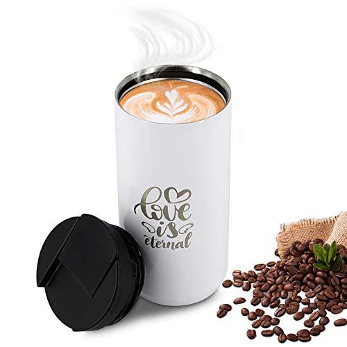 OURISE Trinkflasche Edelstahl, Premium Thermobecher, Thermoskanne Tasse Doppelwandige Isolierflasche, Kaffeebecher, Kaffeetasse mit Deckel, Coffee to go Becher, Kaffee Becher, Travel Mug für Geschenk