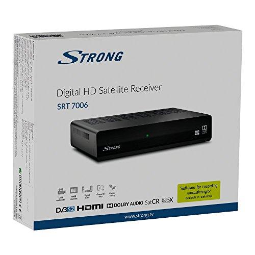Strong SRT 7006 HD Sat Receiver (DVB-S/S2, Full HD, vorinstallierte Sender, USB Mediaplayer, HDMI, SCART, (12 Volt - auch für Camping geeignet), schwarz