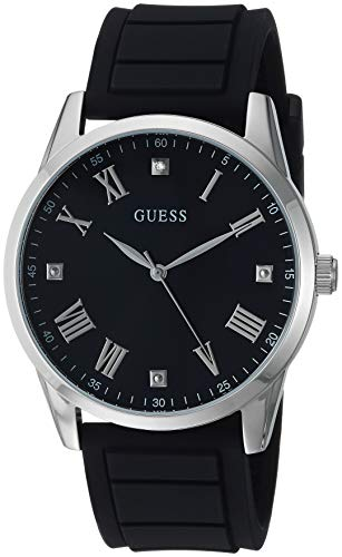 GUESS Cómodo reloj de silicona negro resistente a las manchas con esfera negra de diamante auténtico + números romanos plateados. Color: negro (modelo U1221G1)