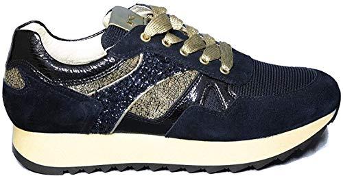 Nero Giardini Sneaker Donna di Colore Blu con Inserti in Oro Laminato e Glitterato Articolo A9 08900 D 207 Nuova Collezione Autunno Inverno 2019 2020 (35)