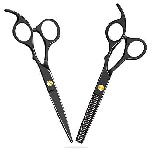 Tatopa Haarschere Friseurscheren Set - 2 Rostfrei Edelstahl Scharfe Präzise Haarschnitte Effilierscheren - Schwarz Haarschneideschere für Damen und Herren