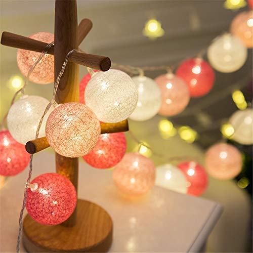 Morbuy Guirlande Lumineuse Boules, Piles Décoration Intérieur 20 LED Coton Boule Chaîne Lumièr pour Fête Noël Halloween Mariage Chambre Romantique Décor