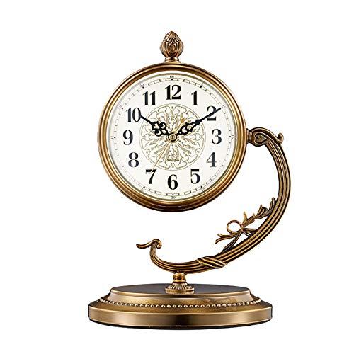WRJ Tabla De Reloj Reloj De Mesa De La Vendimia De Cuarzo Sin Tictac A Pilas Mecedora Decorativa...