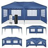 HOTEEL 3x6m Faltpavillon Wasserdicht Pavillion Gartenzelt Dachmaß Bierzelt mit 6 Seitenteilen (3x6 Mit 6 Seitenteilen, Blau)