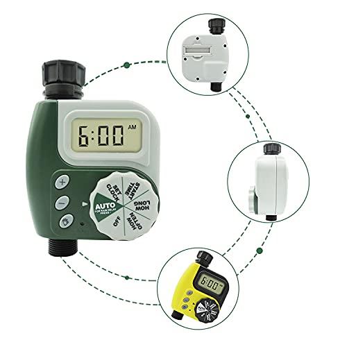 TINFF Temporizador de riego programable, temporizador de riego digital con función de sensor de lluvia, con 3 programas de agua separados para jardín, césped, riego por goteo (verde)