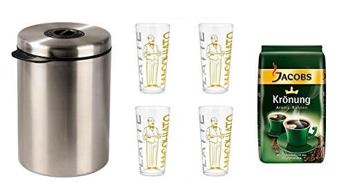 Jacobs Krönung Aroma-Bohnen 500g + Xavax Kaffeedose für 1kg Kaffeebohnen, Tee, Kakao, mit Aromaverschluss, Edelstahldose, silber + 4 Latte Gläser