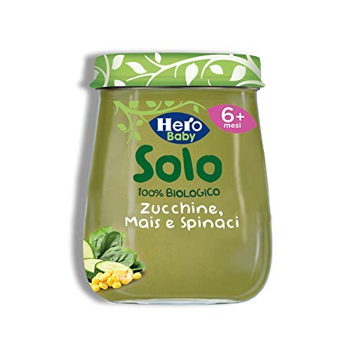 Hero Solo Omogeneizzati Zucchine, Mais e Spinaci Bio, Cartone da 6 Vasetti x 120 g