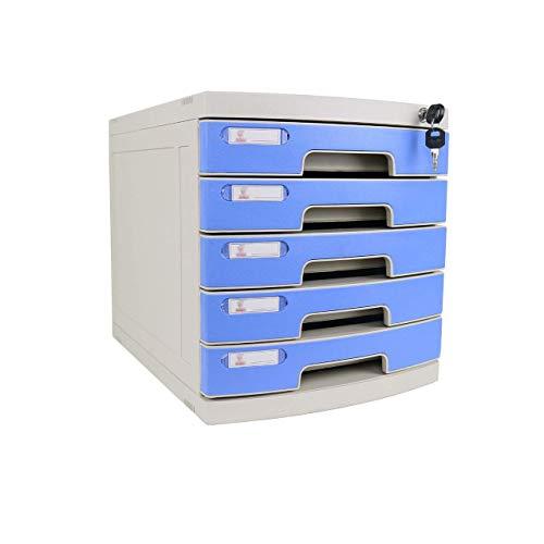 KANJJ-YU Escritorio del cajón clasificador de 4 capas con cerradura de datos de Office gaveta de almacenamiento confidencialidad Oficina de escritorio Organizador de cajones Azul (12in * 15in * 12.8in