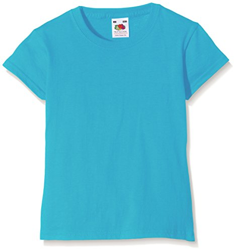 Fruit of the Loom Valueweight - T-Shirt Fille, Bleu (Azure Blue), 12/13 ans