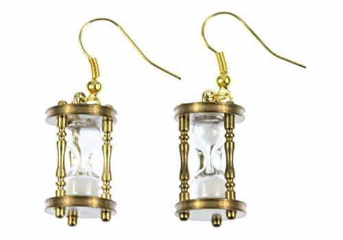 Miniblings Sanduhr Ohrringe FUNKTIONIERT Hänger Eieruhr Zeit Uhren Uhr golden - Handmade Modeschmuck I Ohrhänger Ohrschmuck vergoldet