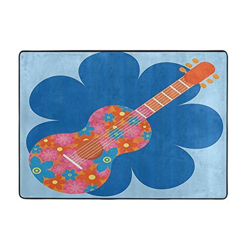 Area Rug for Living Room, Flower Guitar Image Acoustic Musical Instrument Concert Theme Celebration Design, 4 by 5 Ft for Home Kids Bedroom, Blue Orange