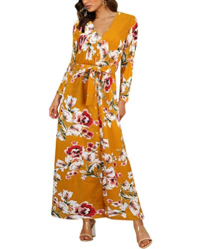 Auxo Mujer Flores Vestido Verano Boho Casual Fiesta Sexy Aliñar Playa Manga Larga Talla Grande Cuello en V Vintage 03 Manga Larga-Amarillo M