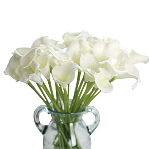 Unechte Blumen,Künstliche Deko Blumen Gefälschte Blumen Seiden Plastik Calla-Lilie Braut Hochzeits blumenstrauß für Haus Garten Party Blumenschmuck 12 Stück (Reines Weiß)
