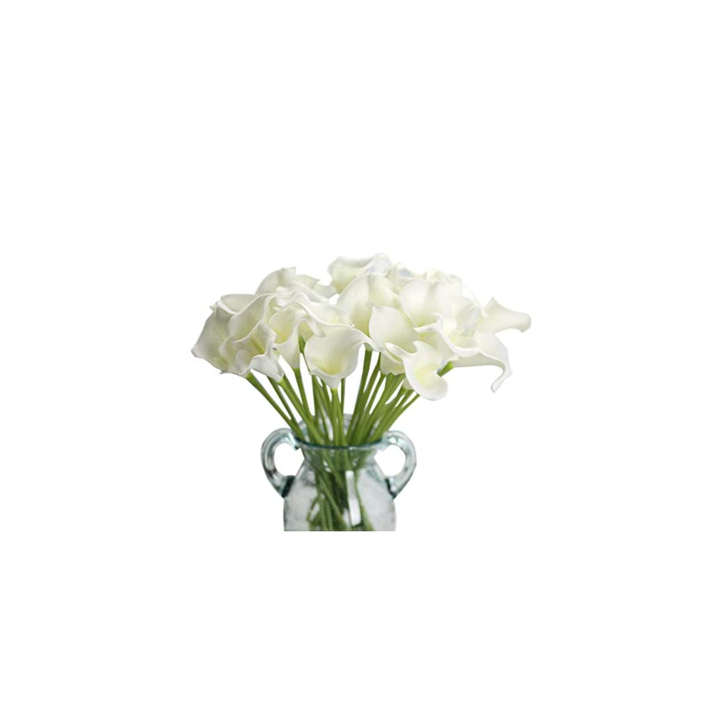 Artificial Flowers, Fake Flowers Silk Plastic Artificial Calla Lily Bridal Wedding Bouquet for Home Garden Party Wedding Decoration 12Pcs (Pure White)