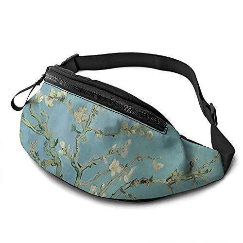 Bolsa de cintura con agujero para auriculares, diseño de flor de cerezo artístico antiguo para hombres y mujeres con correa ajustable para exteriores, ver imagen, Talla única,