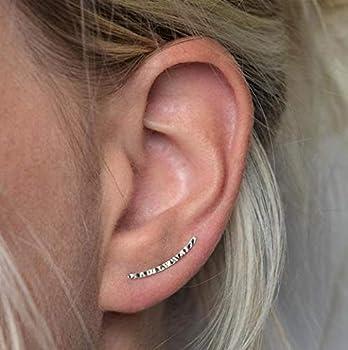 genbz Chic ear climbers Handcrafted Hammered Ear Climber Earrings Minimalist ear crawler Sterling Silver ear crawler earrings sliver