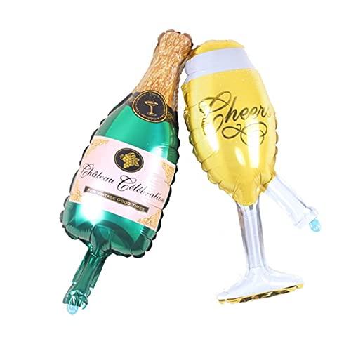 YTNGYTNG Globos Taza de Cerveza Grande Globos de Oro Whisky Botella de Vino En Forma de Papel de Aluminio Globos Inflable Helio Cumpleaños Decoraciones Adulto