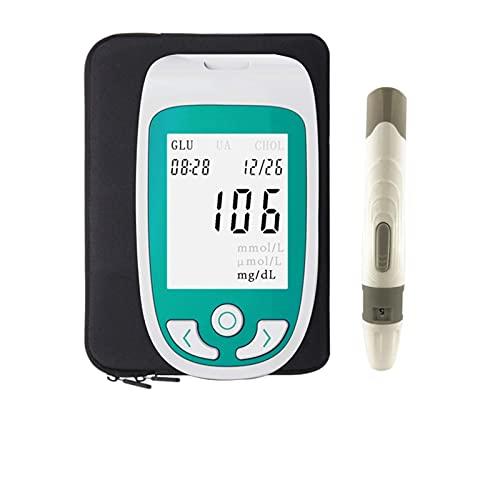 ZLLLL 3 en 1 Kit colesterol, Probador multifunción, Monitor de azúcar en la Sangre Monitor de ácido úrico Monitor Kit para el hogar