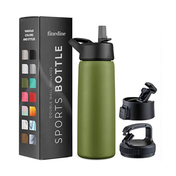 Triple Insulated Stainless Steel Water Bottle with Straw Lid – Flip Top Lid...