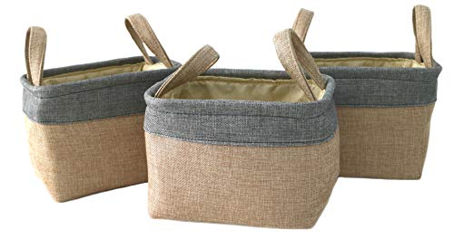 Clay Roberts Mini Storage Hamper Set, 3 Pack, Cream Base, Storage Baskets, Home and Office Storage