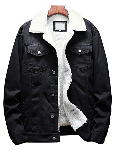 Omoone Men's Lapel Sherpa Fleece Lined Thicken Denim Jean Trucker Jacket Coats (Black Fleece White, M)