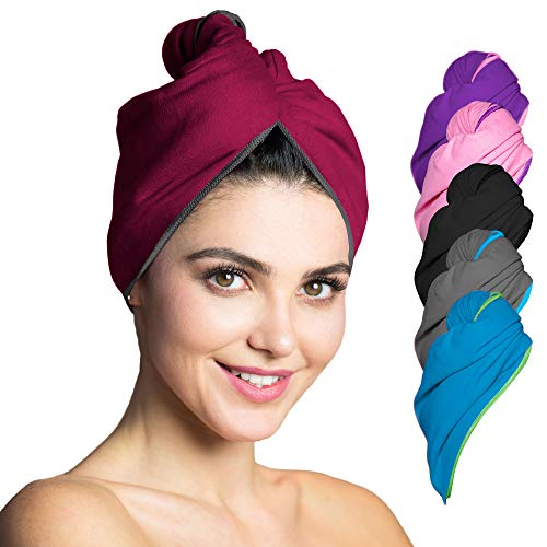 Fit-Flip Haarturban Mikrofaser – 1 Stück, saugstark und schnelltrocknend - Spezial Turban Handtuch als auch Haarhandtuch (weinrot-grau)