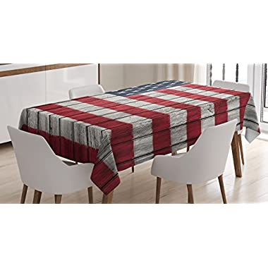 Ambesonne Rustic Decor American USA Flag Tablecloth, Fourth of July Independence Day Adorn National Democracy Art Rough Wood Looking, Dining Room Kitchen Rectangular Table Cover, 60 X 84 inches,
