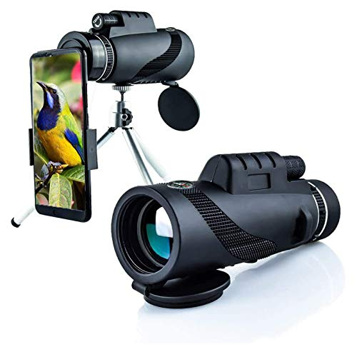 STKJ Potente Telescopio Monocular De Brújula, Alcance Óptico 40X60, Catalejo Militar HD con Soporte para Teléfono, Trípode para Observación De Aves