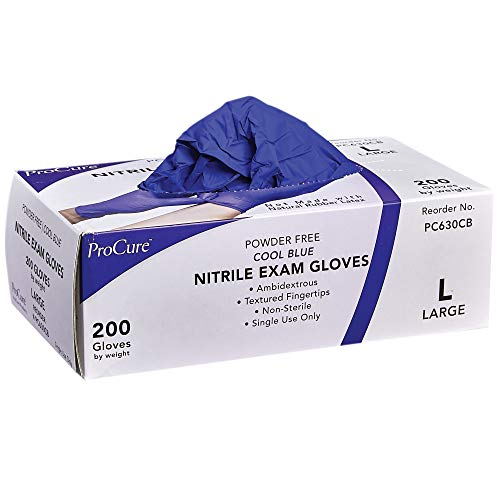 ProCure Disposable Nitrile Gloves - Large, 200 Count - Powder Free, Rubber Latex Free, Medical Exam Grade, Non Sterile, Ambidextrous - Soft with Textured Tips - Cool Blue
