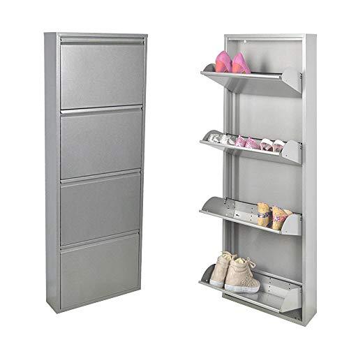 Platzsparender italienischer Schuhschrank, Silber, mit 4 Schubladen, fasst bis zu 12 Paar Schuhe oder Stiefel in nur 14 cm tief – aus Stahl gefertigt, Garantiert fürs Leben!