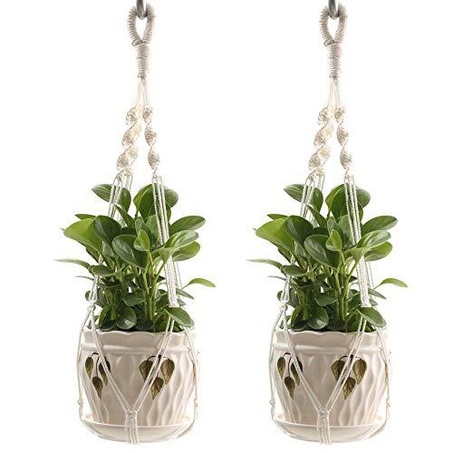 Plant Hanger, corde de coton Boho Macrame plante pot titulaire suspendu panier planteur, décoration pour la maison pour plafond extérieur balcon intérieur fournit 4 jambes, 60 cm, pas de gland,2pcs