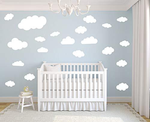 timalo® 35 Stück Wandtattoo Kinderzimmer XL Große Wolken Himmel Pastell Wandsticker – Aufkleber Wolkenset | 73091-SET18-35 | weiß