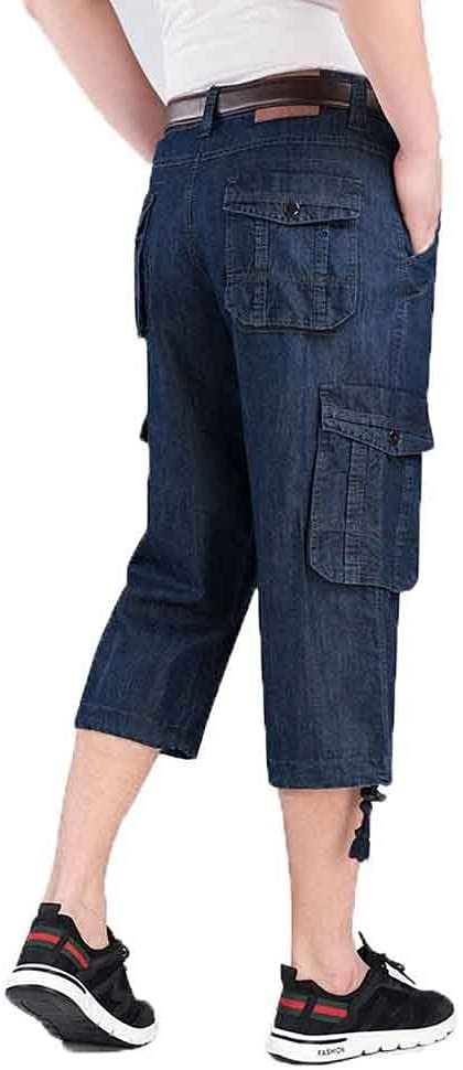YFQHDD Jeans Shorts Men's Summer Breeches 2021 Multi Side Pocket Casual Male Straight Long Blue Denim Loose Cargo Shorts Men (Size : Chinese Size 32)