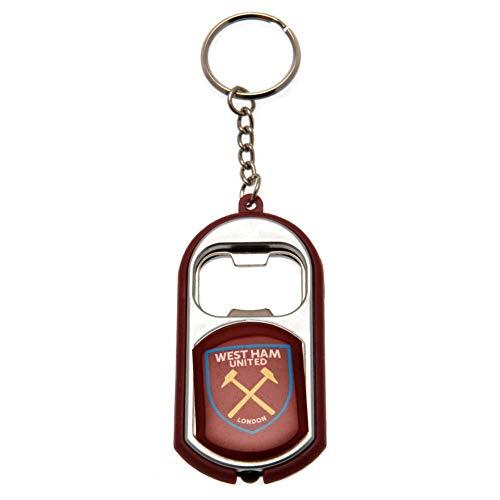 Officiële West Ham United FC fakkel licht fles opener sleutelhanger in een geschenkdoos