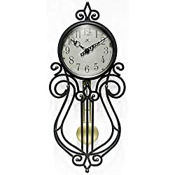 Infinity Instruments 20068AG-4420 Rustic Farmhouse Decorative 20 x 9 Inch Quartz Battery Powered Pendulum Wall Clock, Antique Black