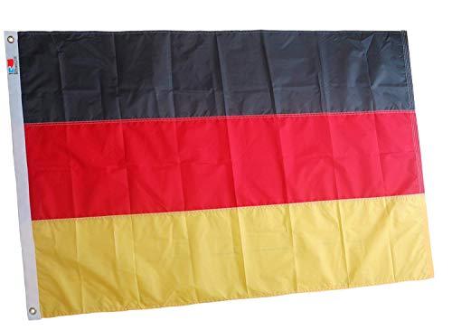 Deutschland Flagge/Fahne Heavy Duty 90x150Cm, Premium langlebigste Oxford Nylon deutsche Fahne, die beste Deutschland Flagge| Vierfach genähte Fliegenenden | Messingösen für eine einfache Anzeige
