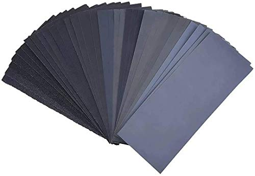 Miady Schleifpapier Set, Körnung von 120 bis 3000, Nass und Trocken für Auto, Holzmöbel, Stein, Lack, Metall, Glas, 23 x 9 cm, 36 Stück