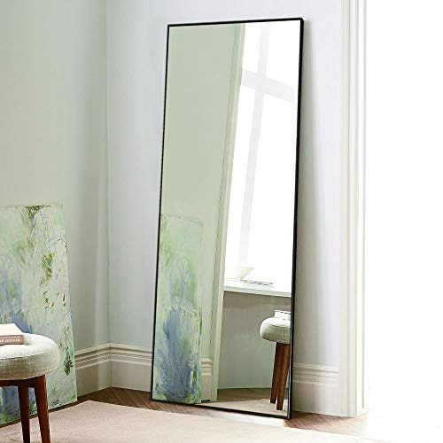 Price comparison product image NeuType Full Length Mirror Floor Mirror with Standing Holder Bedroom / Locker Room Standing / Hanging Mirror Dressing Mirror Wall-Mounted Mirror (Black)