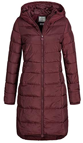 Eight2Nine Damen Steppmantel LETN-039 Lange Stepp-Jacke mit Kapuze Wine red M