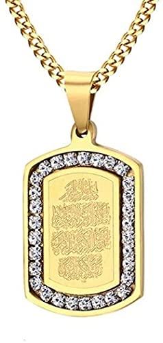 NC198 Hip-Hop Rock Style Dorado Acero Inoxidable musulmán Alá Corán Colgante Cuadrado y Collar Joyería islámica