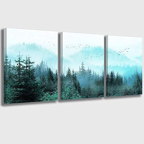 Canvas Wall Art Fresh Fog Forest Modern Nature Wall Decor for Bedroom Bathroom Living Room Stretched product image