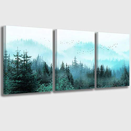 Canvas Wall Art Fresh Fog Forest Modern Nature Wall Decor for Bedroom Bathroom Living Room Stretched...