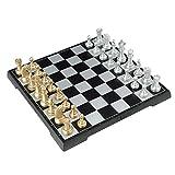 HAOJON Juego de ajedrez clásico Tablero de ajedrez magnético Plegable Piezas de ajedrez de Oro y Plata Esquinas Redondeadas Ajedrez magnético con Damas Juego de 64 cuadrículas Juego de Juegos de ta