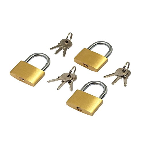 5starwarehouse Pack of 3 Brass Luggage Padlocks 20mm Security Locks Suitcase Baggage With 2 Keys Each