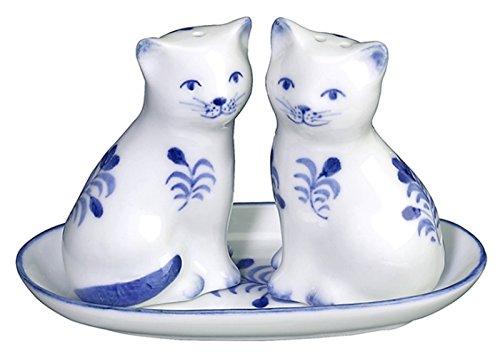 Andrea von Sadek Salz- und Pfefferstreuer, sitzende Katzen, Blau und Weiß