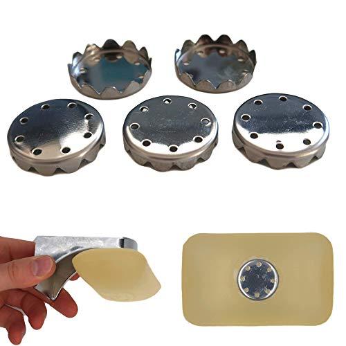 Seifen Plättchen für Magnet Seifenhalter, 5er Pack, aus S.S.302 Edelstahl, für magnetische Seifen Aufbewahrung, stabil und robust für jede Seife, Magnet Seifenschale zum Kleben, Seifenmagnete